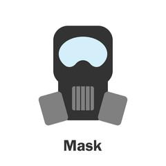 Mask in cartoon style, marine card for kid, preschool activity for children, vector