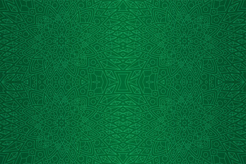Green art with detailed linear seamless pattern