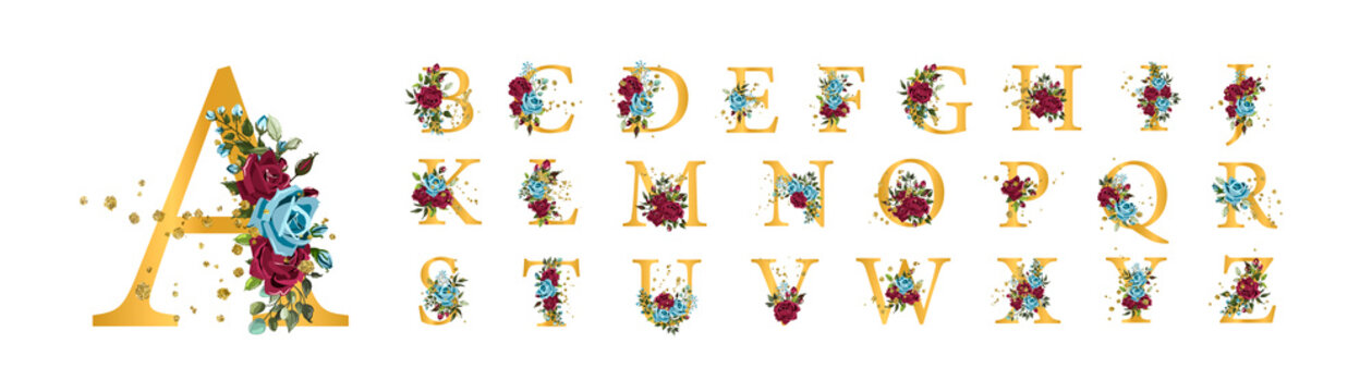 Golden floral alphabet font uppercase letters with bordo navy blue roses
