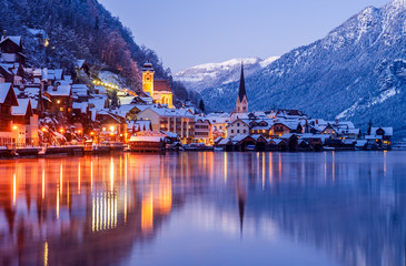 Hallstatt at cold winter night