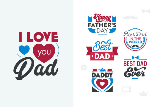 Happy Fathers Day Typography Set