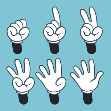 Hand numbers. Cartoon hands people in glove, sign language palm two three one four finger count, vector illustration