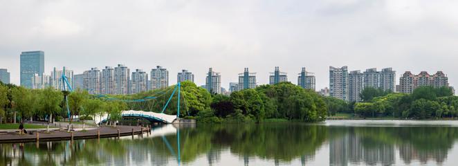 Yunfan Bridge. Jingtian Lake. Century Park. Shanghai, China. Panorama