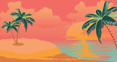 Sunrise tropical island with palms