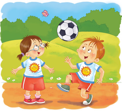 Little boy's day. Schedule. Little boy and girl are playing football. Coloring book. Coloring page. Illustration for children. Cute and funny cartoon characters