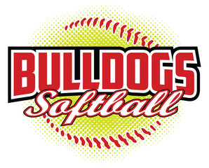 Bulldogs Softball Design is a bulldogs mascot design template that includes team text and a stylized softball graphic in the background. Great for team or school t-shirts, promotions and advertising. - fototapety na wymiar