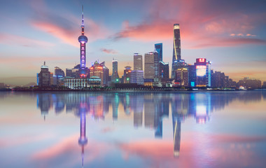 Fotomurales - Panorama view of Shanghai cityscape skyline ,early morning scene .