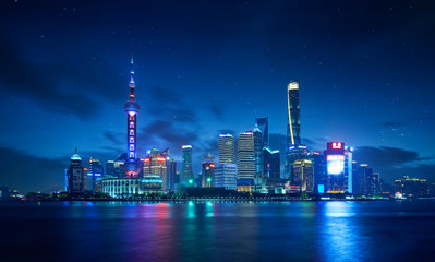 Fotomurales - Panorama view of Shanghai cityscape skyline ,night scene .