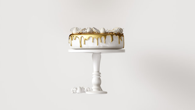 Big White and Gold Luxury Cake with Strawberries and Round Biscuits 3d illustration 3d render