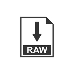 RAW file document icon. Download RAW button icon isolated. Flat design. Vector Illustration