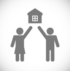 man with woman house icon