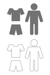 person t-shirt and shorts icon