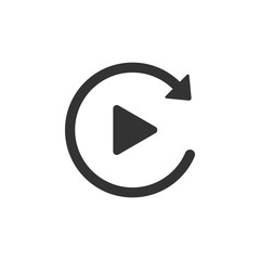 Video play button like simple replay icon isolated. Flat design. Vector Illustration
