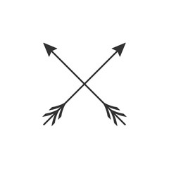 Crossed arrows icon isolated. Flat design. Vector Illustration