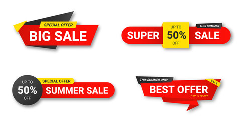 Set of sale tags. Sale, discount and special offer, colorful banners. Collection of discount label, offer tag and sale sticker design for advertising and promotion