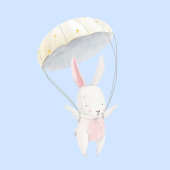 Watercolor baby rabbit vector skydiver