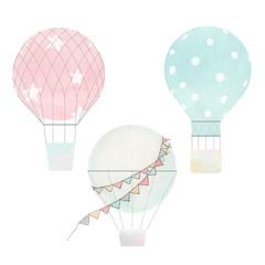 Watercolor air baloons vector collection
