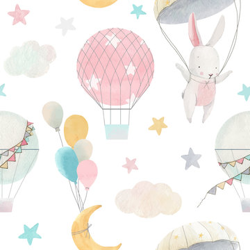 Watercolor cute baby vector pattern