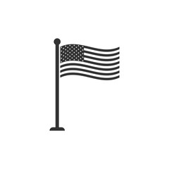 National flag of USA on flagpole icon isolated. American flag sign. Flat design. Vector Illustration