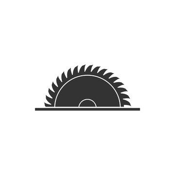 Circular saw blade icon isolated. Saw wheel. Flat design. Vector Illustration