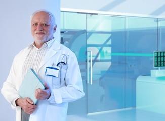 White haired doctor professor at hospital