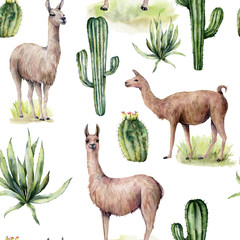 Watercolor seamless pattern with llama and desert cacti. Hand painted traition botanical illustration with animal and floral on white background. For design, print, fabric or background. - 268675486
