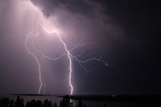 night thunder and lightning over the river