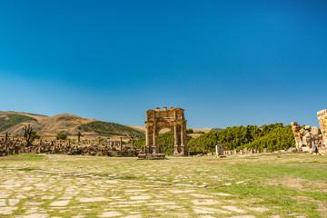 Gate in ancient Roman ruin in Cuicul, Djemila, Algeria