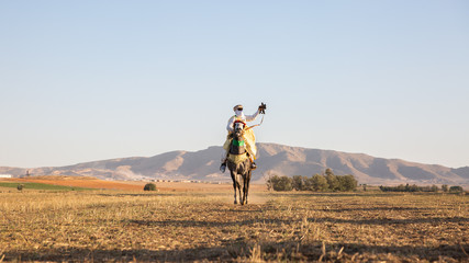 Traditional Arabic horse warrior with a gun in Algeria