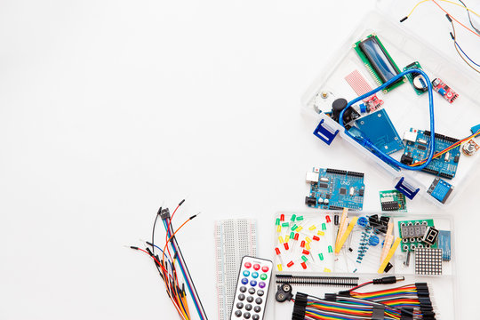 Electronic Components, chips, resistors, light-emitting diodes, multicolored soldless thin wires with connectors for Microcontrollers and Robotics, DIY, STEM Education, Electronic Projects