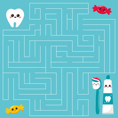 Educational maze game for kids. Help the tooth find right path to the toothpaste and toothbrush. Cartoon kawaii vector characters.
