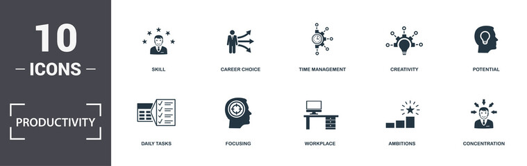Productivity icons set collection. Includes simple elements such as Work Plan, Tasks To Do, Daily...