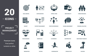 Project Management icons set collection. Includes simple elements such as Goal Seeking, Configuration, Virtual Team, Employability, Human Resource, Workplace and Cleverness premium icons