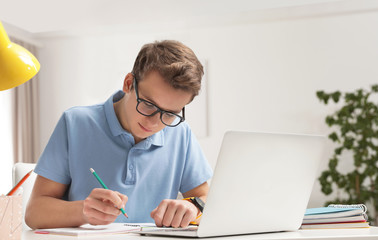 Teenager boy doing his homework at desk indoors