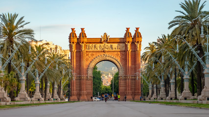 Fotobehang Barcelona The Arc de Triomf is a triumphal arch in the city of Barcelona in Catalonia, Spain