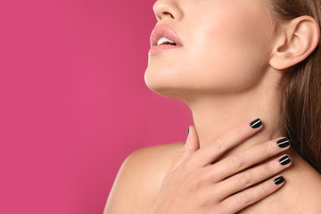 Aluminium Prints Manicure Beautiful woman with stylish nail polish on color background, closeup. Space for text
