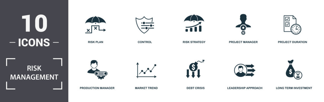 Risk Management icons set collection. Includes simple elements such as Risk Level, Risk Plan, Control, Risk Strategy, Project Manager, Production Manager and Market Trend premium icons
