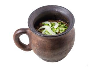 Clay pot full of georgian red beans.