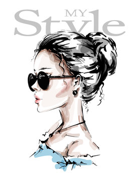 Hand drawn beautiful young woman in sunglasses. Stylish girl. Fashion woman look. Female profile. Sketch. Vector illustration.