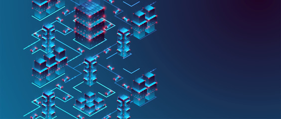 Isometric big data flow processing concept, cloud database. Abstract technology background. Vector illustration Wall mural