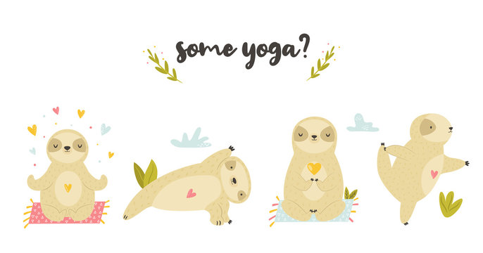 Set of cute sloths in asanas doing yoga