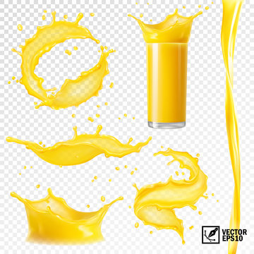 3D realistic set of isolated vector different splashes of juice of orange, mango, bananas and other fruits, transparent glass with a splash, spray and vortex juice.