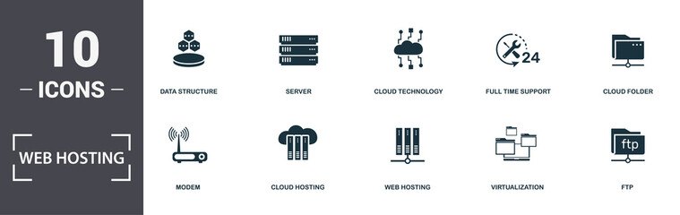 Web Hosting icons set collection. Includes simple elements such as Server Error, Modem, Cloud Hosting, Web Hosting, Virtualization, and Pool Swimming premium icons