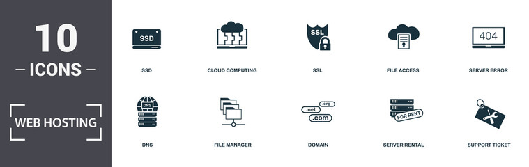 Web Hosting icons set collection. Includes simple elements such as Cloud Folder, Ssd, Cloud Computing, Ssl, File Access, Dns and File Manager premium icons