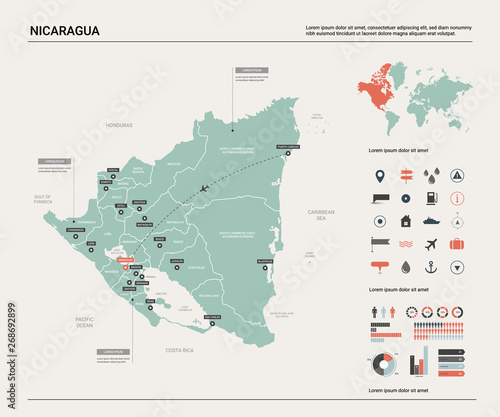 Vector map of Nicaragua. Country map with division, cities and ...