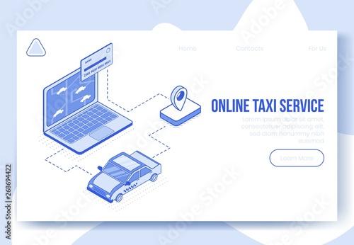 Digital isometric design concept scene of online taxi