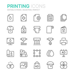 Collection of printing line icons. 48x48 Pixel Perfect. Editable stroke
