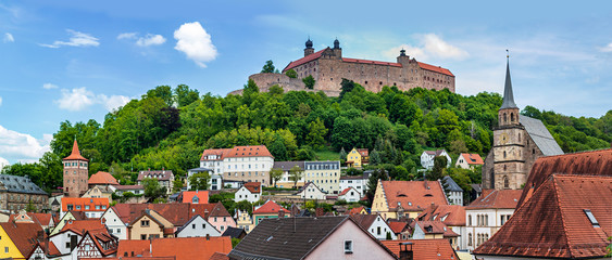 cityscape of Kulmbach with Plassenburg castle