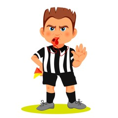 Whistling soccer referee showing stopping hand during match, human character vector illustration. Sport hand drawn cartoon, football arbitrator with red and yellow cards in hand