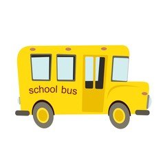 yellow school bus on a white background